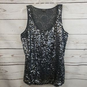 Express Black Lace Back Sequin Top